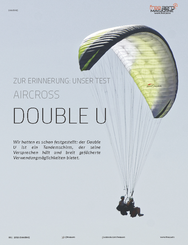 Test Air Cross Double U  Gleitschirm Motorschirm Free Aero Magazin