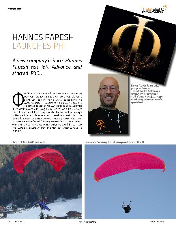 Free Aero Magazine for Paragliding and Paramotoring: Hannes Papesh